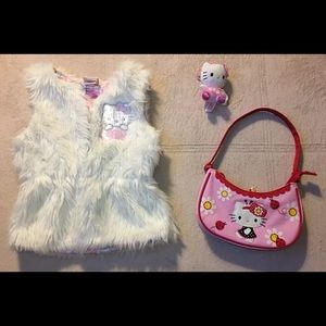 Hello Kitty Purse, Furry Vest Sz SM Girls, & Plush